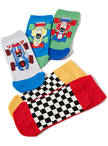 5 Pack Multicoloured Race Car Trainer Socks (3-14 years)