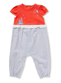 Multicoloured Woven Stripe Romper (0-24 months)