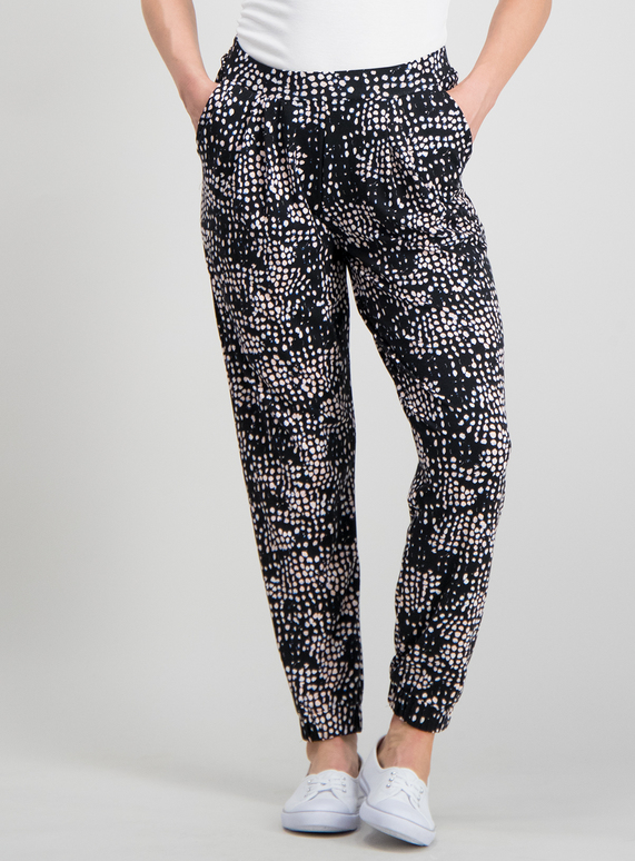 9672d01a7 Womens PETITE Black Abstract Spot Drapey Jersey Trousers | Tu clothing