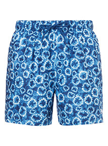 Blue Tie-Dye Print Swim Shorts