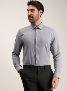 Navy Dogtooth & White Tailored Fit Shirts 2 Pack