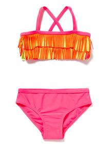 Pink Neon Fringe Bikini (5-14 years)
