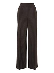 Black Wide Leg Pinstripe Trousers