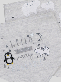 Grey Penguin & Polar Handkerchief Bear Bib 2 Pack (One Size)