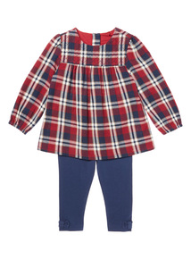 Navy Two Piece Check Woven Top & Legging Set (0-24 months)
