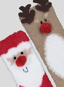 Santa & Rudolph Slipper Socks 2 Pack (6 Infant - 5.5)