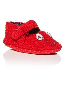 Girls Red Winter Blossom Knitted Slipper