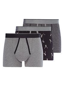 Grey 3 Pack Trunks