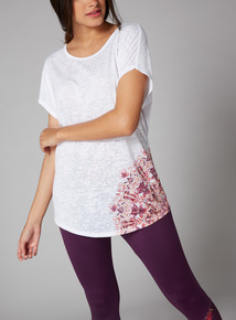 White Burnout Floral Print T-Shirt