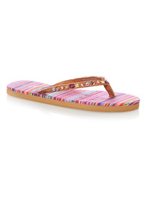Multicoloured Fiesta Beaded Flip Flops