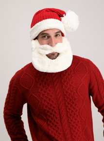 Red Knitted Santa Hat With Beard