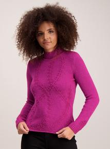 Pink Floral Knit Jumper