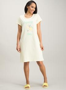 02a35f98425a Yellow Lemon Slogan Short Sleeve Nightdress