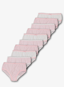 Pink Gingham & Striped Briefs 10 Pack (18 Months - 12 Years)