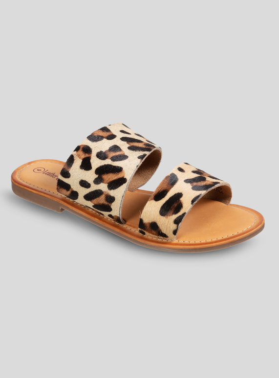 innovative design the sale of shoes wholesale sales SKU ONLINE ONLY LEOPARD TWO BAND LEATHER SANDAL:Multi Colour