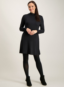 Black Turtle Neck Long Sleeve Dress