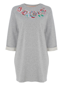 Grey Embroidered Floral Sweat Tunic