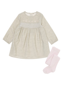 Girls Grey Cord Dress and Tights (0-12 Months)