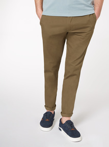 Khaki Tapered Fit Chinos With Stretch