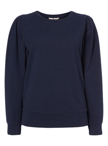 Navy Balloon Sleeve Sweater