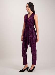 Purple Sequin Velvet Wrap Jumpsuit