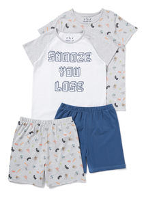 2 Pack Multicoloured 'You Snooze You Lose' Pyjamas (4-14 years)