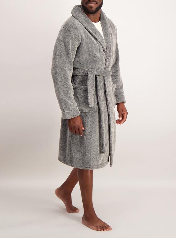 Mens Grey Fleece Dressing Gown | Tu clothing