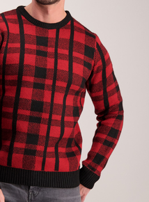 Red Check Crew Neck Jumper