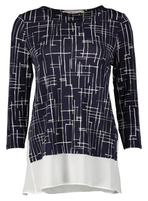 Navy Retro Check Print Top