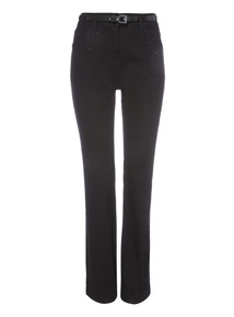 Black Embellished Belted Straight Jeans