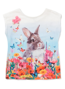 Multicoloured Short Sleeve Bunny Print T-Shirt (3-14 years)