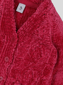 Pink Chenille Cable Knit Cardigan (9 Months - 6 Years)
