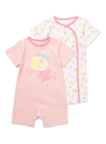 2 Pack Pink Bee Happy Rompers (Newborn - 24 Months)
