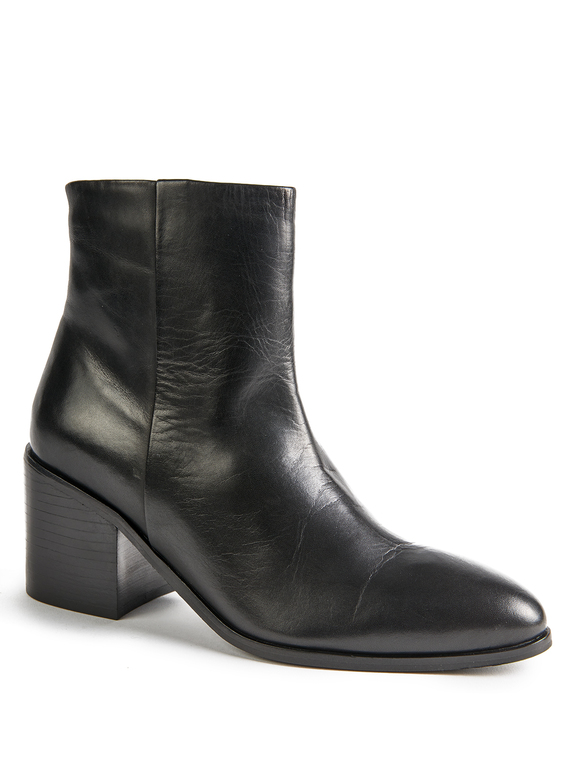 Premium Black Leather Ankle Boot