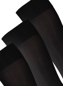 Black 40 Denier Opaque Knee Highs 3 Pack