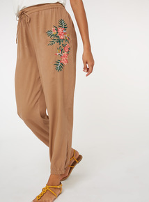 Tencel Floral Embroidered Joggers