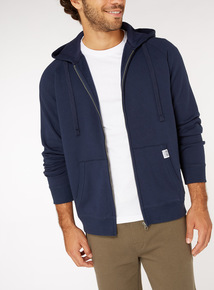 Navy Zip Through Hoodie