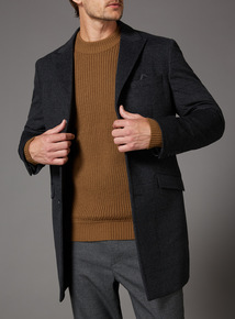 Charcoal Brushed Check Overcoat