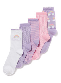 5 Pack Multicoloured Clouds and Rainbow Socks