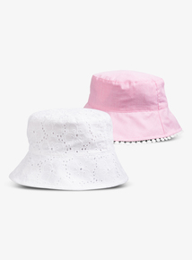 a79adda999b27 White   Pink Wrap UPF50+ Bucket Hats 2 Pack (1 - 9 years)
