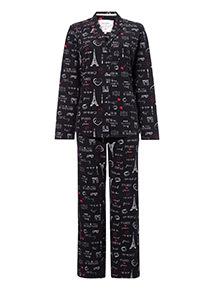 Fleece Paris Traditional Pyjama Set