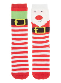Red and White Two Pack Santa and Elf Slipper Socks
