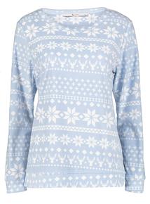Christmas Pale Blue Nordic Fairisle Print Pyjamas