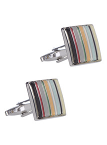 Multicoloured Multi Stripe Cufflink