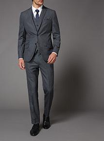 Online Exclusive Grey Slim Fit 100% British Wool Suit Trousers