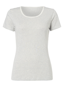Cream Striped Pointelle Thermal Top