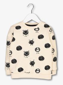 Cream Monster Print Sweatshirt (1-6 Years)
