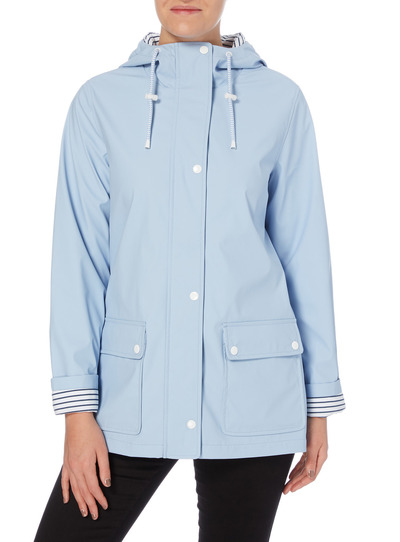 Light Blue Rubber Coated Raincoat