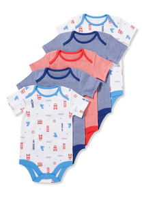 5 Pack Multicoloured Short Sleeve London Bodysuits (0-24 months)