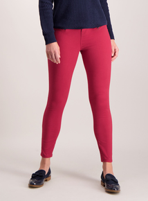 Red Zip Detail Brushed Twill Skinny Fit Trousers